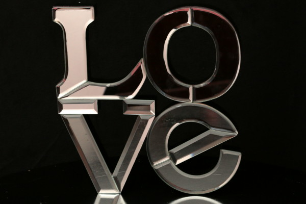 Glass Love Sign - Gift Table Decoration